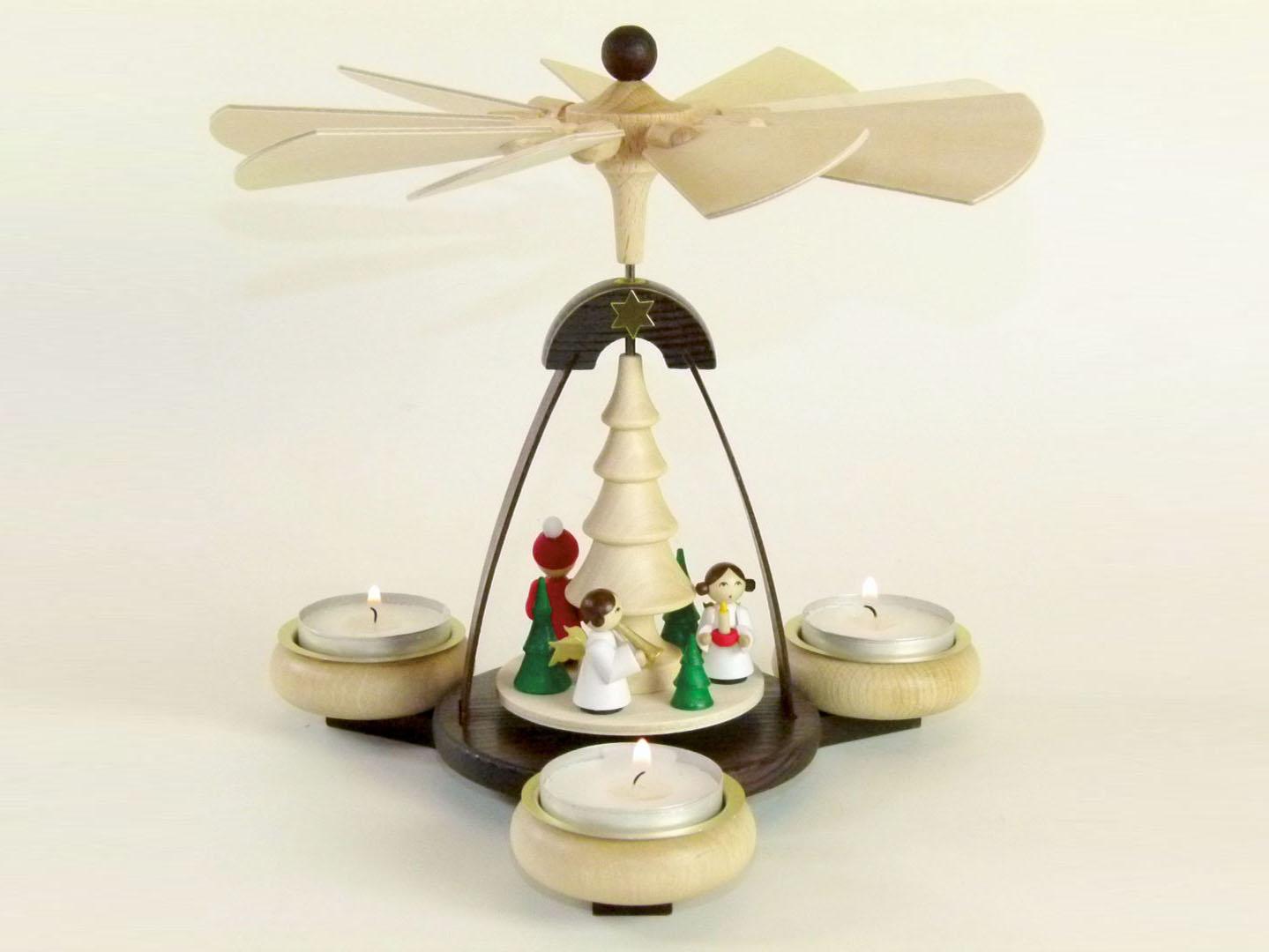 Teelichtpyramide zweifarbig mit Weihnachtsmann & 2 Engeln kaufen