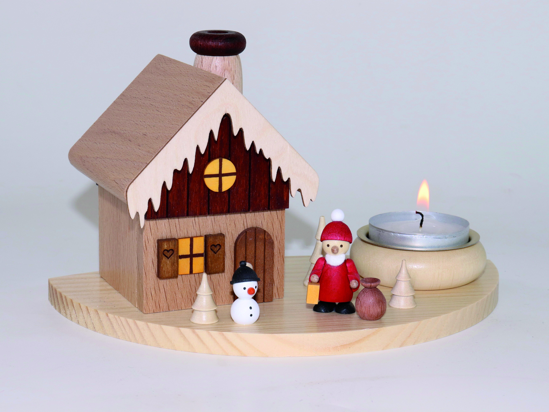 Rächerhaus & Teelichthalter mit Weihnachtsmann und Schneemann kaufen