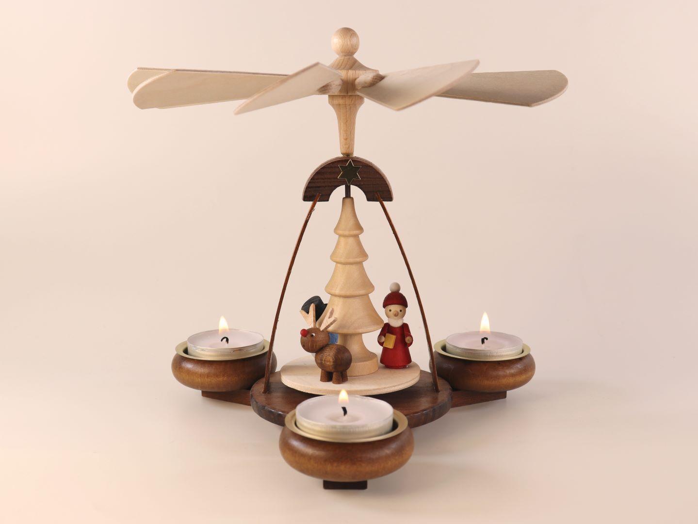 Teelichtpyramide braun mit Weihnachtsmann, Schneemann & Elch kaufen
