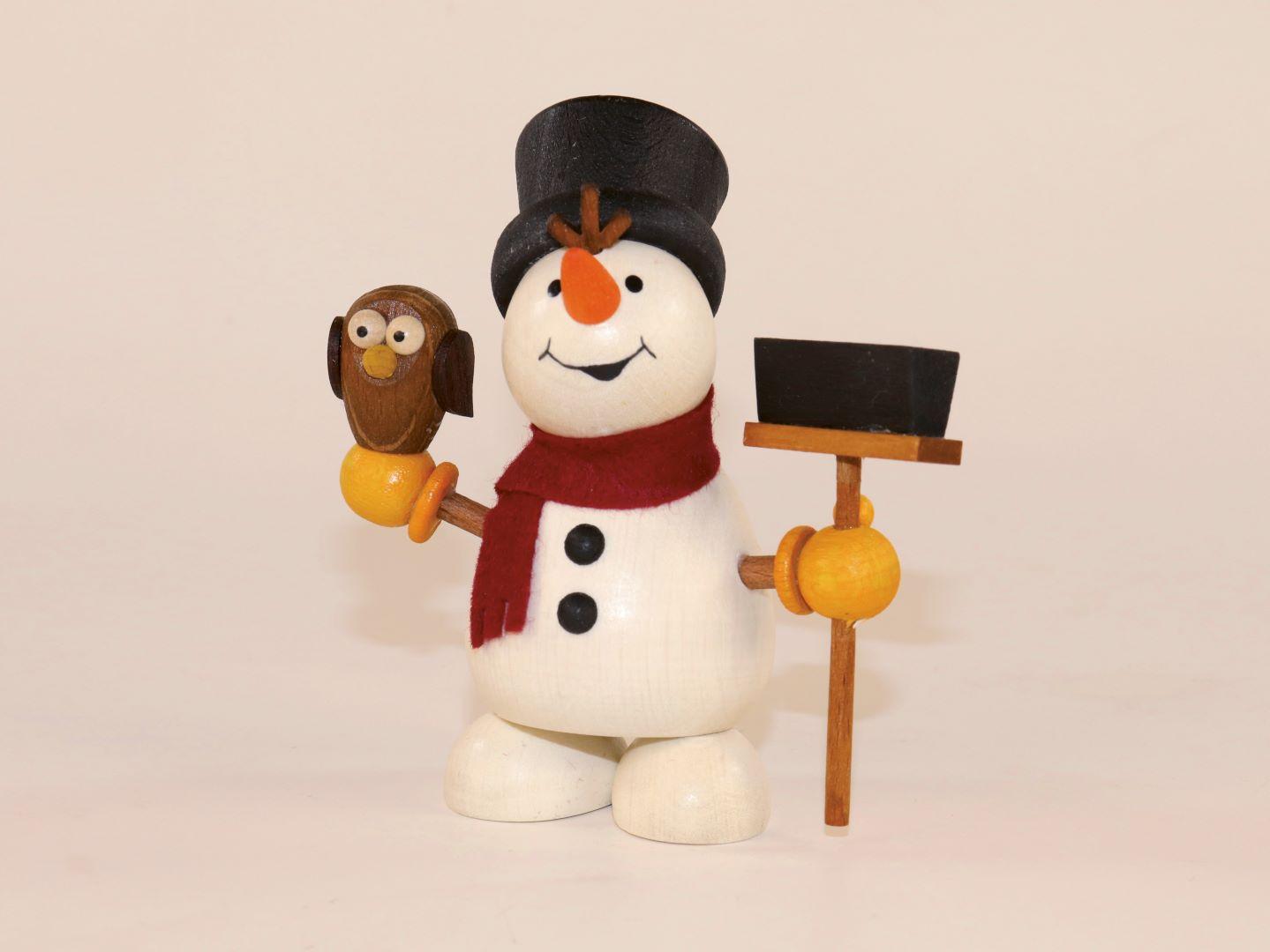 Schneemann mit Eule und Besen zum Hinstellen
