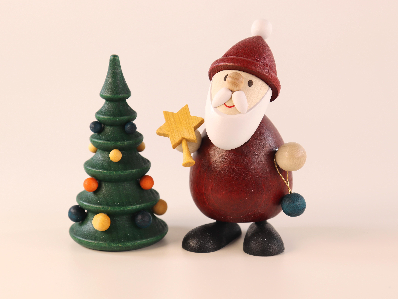Weihnachtsmann mit Stern und Weihnachtsbaum zum Hinstellen